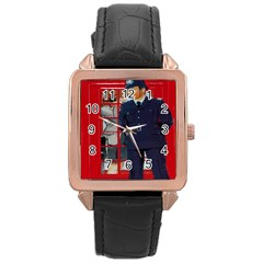 Red London Phone Boxes Rose Gold Leather Watch