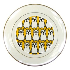 Yellow Owl Background Porcelain Plates