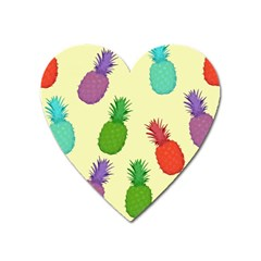 Colorful Pineapples Wallpaper Background Heart Magnet by Sudhe