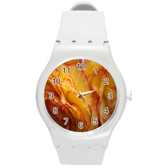 Flowers Leaves Leaf Floral Summer Round Plastic Sport Watch (m)