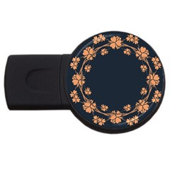 Floral Vintage Royal Frame Pattern Usb Flash Drive Round (2 Gb)