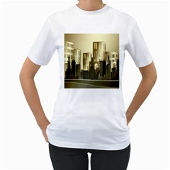 Architecture City House Women s T Shirt (white) (two Sided)