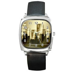 Architecture City House Square Metal Watch