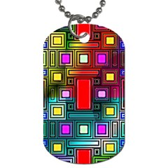 Art Rectangles Abstract Modern Art Dog Tag (one Side)