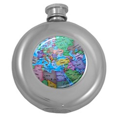 Globe World Map Maps Europe Round Hip Flask (5 Oz) by Sudhe