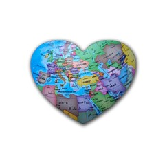 Globe World Map Maps Europe Rubber Coaster (heart)