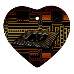 Processor Cpu Board Circuits Heart Ornament (two Sides) by Sudhe