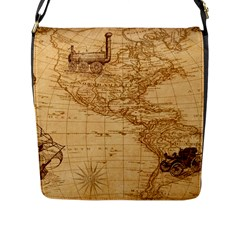 Map Discovery America Ship Train Flap Closure Messenger Bag (l)