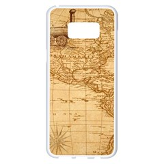 Map Discovery America Ship Train Samsung Galaxy S8 Plus White Seamless Case