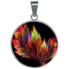 Abstract Digital Art Fractal 30mm Round Necklace