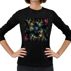 Abstract Digital Art Fractal Women s Long Sleeve Dark T Shirt