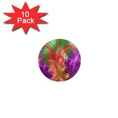 Fractal Purple Green Orange Yellow 1  Mini Magnet (10 Pack)