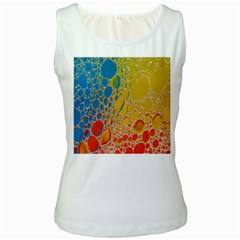 Bubbles Abstract Lights Yellow Women s White Tank Top