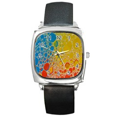 Bubbles Abstract Lights Yellow Square Metal Watch by Sudhe