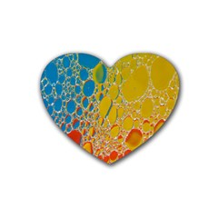 Bubbles Abstract Lights Yellow Rubber Coaster (heart)  by Sudhe