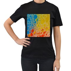 Bubbles Abstract Lights Yellow Women s T-shirt (black)