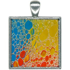 Bubbles Abstract Lights Yellow Square Necklace