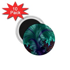 Fractal Turquoise Feather Swirl 1 75  Magnets (10 Pack)