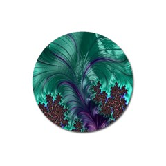 Fractal Turquoise Feather Swirl Magnet 3  (round)