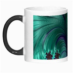 Fractal Turquoise Feather Swirl Morph Mugs