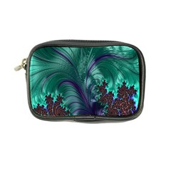 Fractal Turquoise Feather Swirl Coin Purse