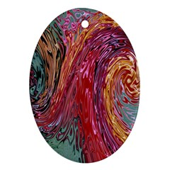 Color Rainbow Abstract Flow Merge Ornament (oval)