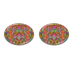 Background Psychedelic Colorful Cufflinks (oval)