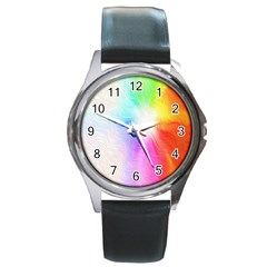 Psychedelic Background Wallpaper Round Metal Watch