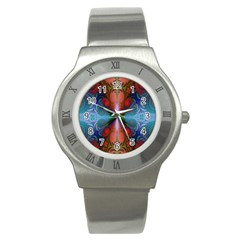 Fractal Background Design Stainless Steel Watch