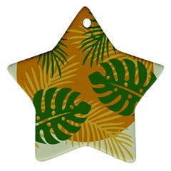 Leaf Leaves Nature Green Autumn Star Ornament (two Sides)