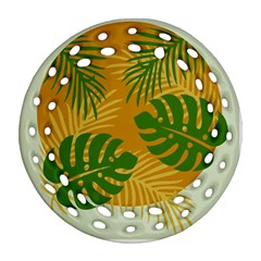 Leaf Leaves Nature Green Autumn Round Filigree Ornament (two Sides)