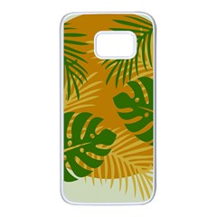 Leaf Leaves Nature Green Autumn Samsung Galaxy S7 White Seamless Case