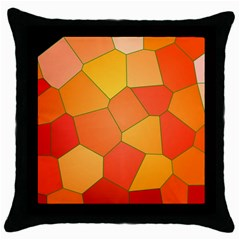 Background Pattern Of Orange Mosaic Throw Pillow Case (black) by Sudhe