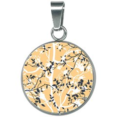 Floral Pattern Background 20mm Round Necklace