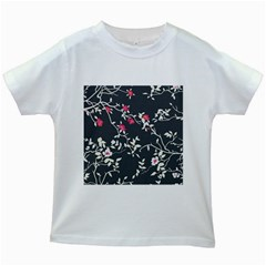 Black And White Floral Pattern Background Kids White T-shirts