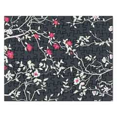 Black And White Floral Pattern Background Rectangular Jigsaw Puzzl