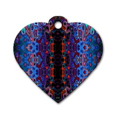 Kaleidoscope Art Pattern Ornament Dog Tag Heart (one Side)