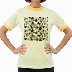 Black And White Floral Pattern Background Women s Fitted Ringer T Shirt