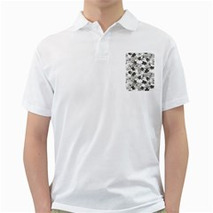 Black And White Floral Pattern Background Golf Shirt