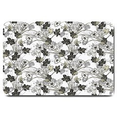 Black And White Floral Pattern Background Large Doormat