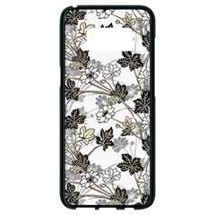 Black And White Floral Pattern Background Samsung Galaxy S8 Black Seamless Case