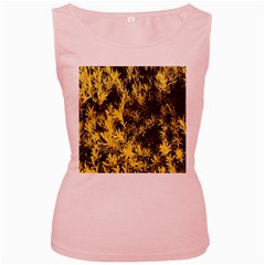 Artistic Yellow Background Women s Pink Tank Top