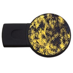 Artistic Yellow Background Usb Flash Drive Round (2 Gb)