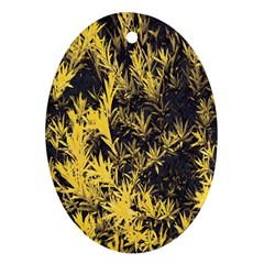 Artistic Yellow Background Oval Ornament (two Sides)