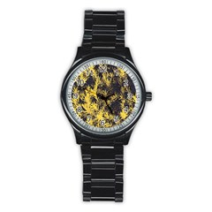 Artistic Yellow Background Stainless Steel Round Watch