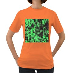 Green Etched Background Women s Dark T Shirt