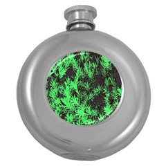 Green Etched Background Round Hip Flask (5 Oz)