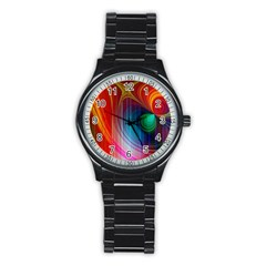 Background Color Colorful Rings Stainless Steel Round Watch