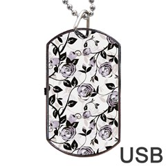 Floral Pattern Background Dog Tag Usb Flash (two Sides) by Sudhe