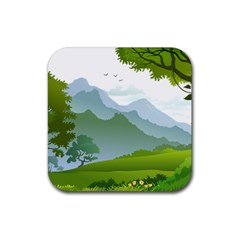 Forest Landscape Photography Illustration Rubber Coaster (square)